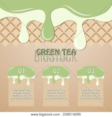Flowing And Dripping Green Tea Cream Or Ice Cream Green Tea And Ice Cream Vanilla Or Milk Cream On W