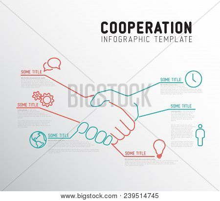 Vector Infographic Cooperation Report Template Made From Lines And Icons With Handshake - Two Colors