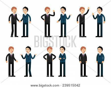 Two Businessmen Talking. Vector Characters Business People Meeting And Communication Ilustration