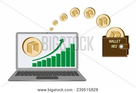 Transfer Neo Coins From Laptop In The Wallet On A White Background,growth Diagram With Coin Of Neo O
