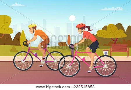 Cyclists Male And Female Rides At The Urban Park. Outdoor Cyclist, Man And Woman Active Leisure. Vec