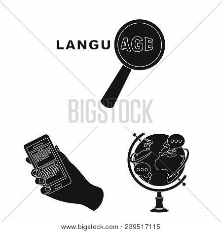 Translator And Linguist Black Icons In Set Collection For Design. Interpreter Vector Symbol Stock  I