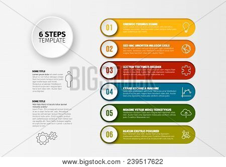 One Two Three Four Five Six - Vector Progress Steps Template With Descriptions And Icons