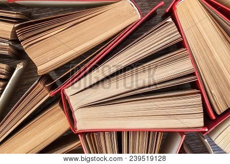 Number Of Old Books. Used Hardback Books. View From Above. Education Background