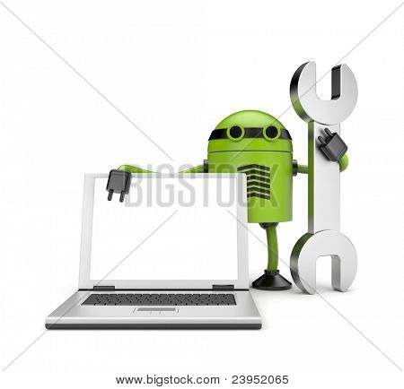 Robot with notebook. Repair you computer