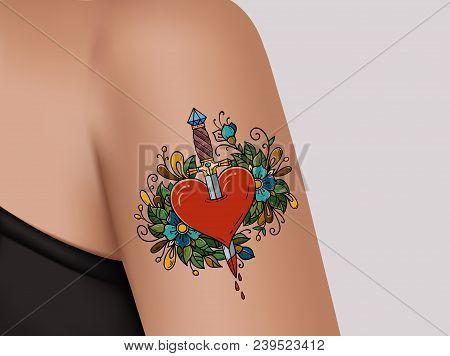 Tattoo On Shoulder. Broken Heart. Heart Pierced With Dagger. Symbol Of Betrayal. Template Of Banner