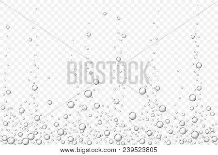 Vector Black Underwater Air Bubbles Texture Isolated On Light Transparent Background. Fizzing Bubble