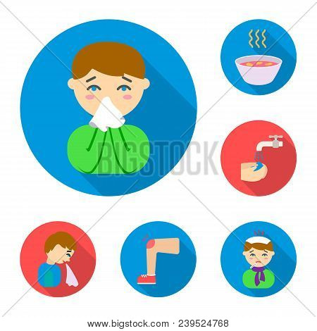 The Sick Man Flat Icons In Set Collection For Design.illness And Treatment Vector Symbol Stock  Illu