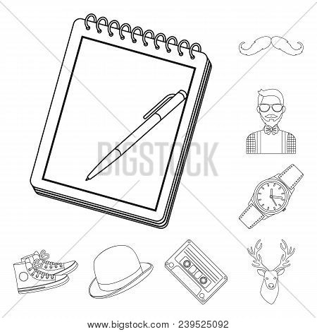 Style Hipster Outline Icons In Set Collection For Design. Hipster Attributes And Accessories Vector