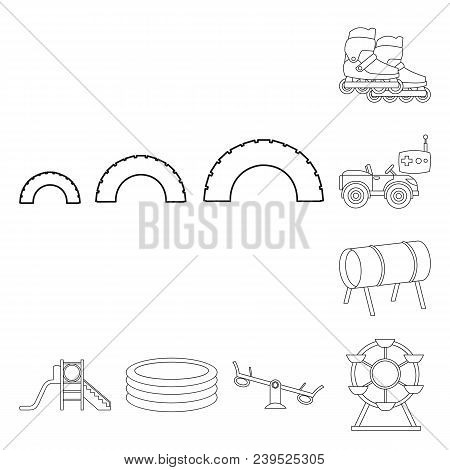 Playground, Entertainment Outline Icons In Set Collection For Design. Attraction And Equipment Vecto