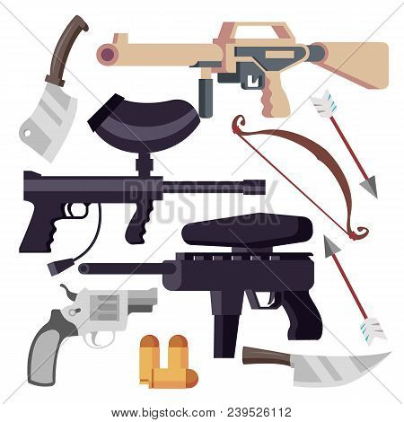 Weapon Set Vector. Weapons Icons. Pistol, Shotgun, Knife Bow Isolated Illustration
