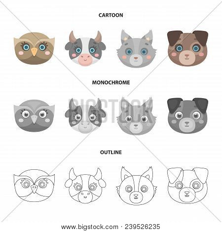 Owl, Cow, Wolf, Dog. Animal Muzzle Set Collection Icons In Cartoon, Outline, Monochrome Style Vector