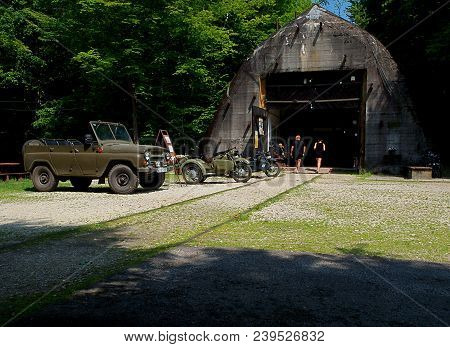 Railway War Bunker. Konewka Village, Poland - July 23, 2015 German Railway Shelter For Staff Trains