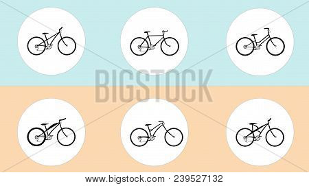 Vector Set Of Bicycles In Flat Style. Guide Of Bike Types. Poster With Road Bike, Mountain Bike, Bmx
