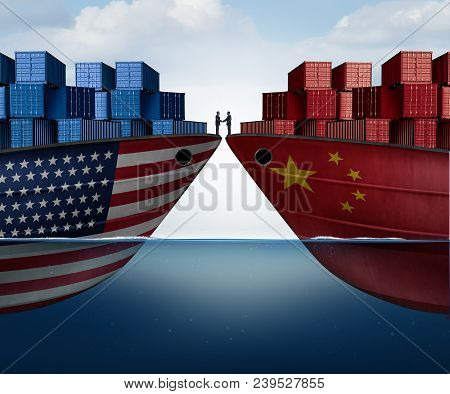 China United States Trade Agreement And American Tariffs As Two Opposing Cargo Ships As An Economic
