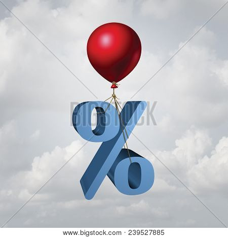 Rising Interest Rates Finance And Inflation Economic Concept As A Percentage Icon Lifted Up By A Fly
