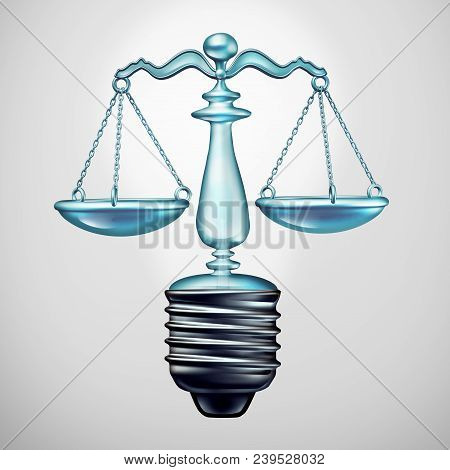 Law Solution And Legal Ideas Concept And Judgement Symbol As A Light Bulb Justice Scale As A Metapho