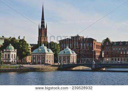 Cityscape View Of Stockholm's Old Town In Famous Gamla Stan Area Densely Situated By Archaic Buildin