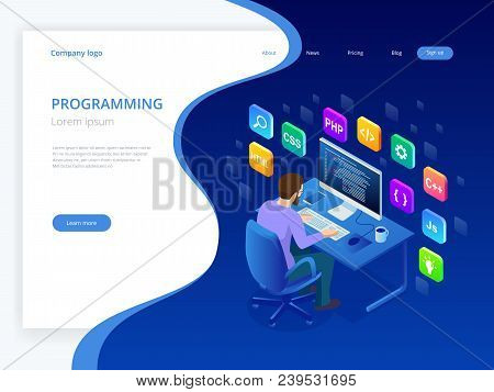 Isometric Developing Programming And Coding Technologies. Website Design. Young Programmer Coding A
