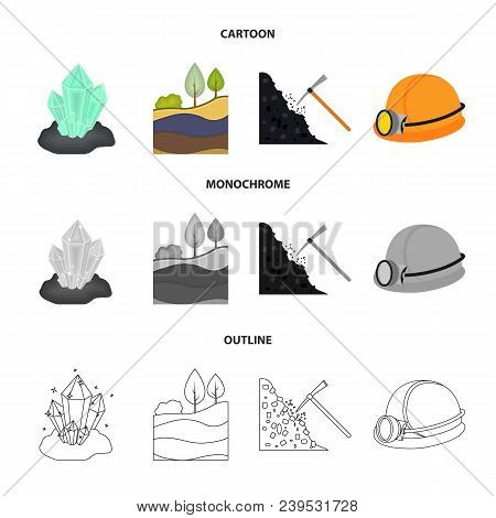 Crystals, Coal Seam, Pickaxe, Helmet With A Lantern.mine Set Collection Icons In Cartoon, Outline, M