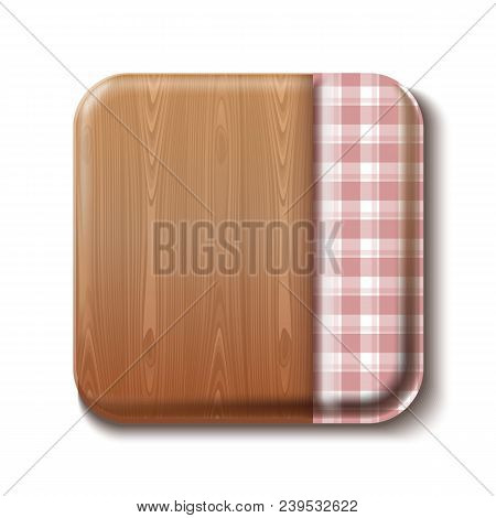 Dining Table Top View. Wooden Table Half Covered With A Checkered Tablecloth. Checkered Cooking Tabl