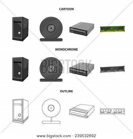 System Unit, Memory Card And Other Equipment. Personal Computer Set Collection Icons In Cartoon, Out
