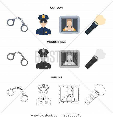 Handcuffs, Policeman, Prisoner, Flashlight.police Set Collection Icons In Cartoon, Outline, Monochro