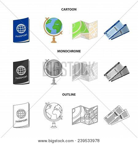 Vacation, Travel, Passport, Globe .rest And Travel Set Collection Icons In Cartoon, Outline, Monochr