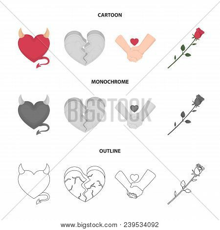 Evil Heart, Broken Heart, Friendship, Rose. Romantic Set Collection Icons In Cartoon, Outline, Monoc