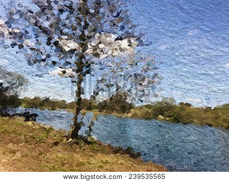Digital Oil Painting Of A Beautiful Blue Lake Surrounded By Trees On A Sunny Day, With A Blue Sky An