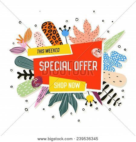 Sale Promotional Banner With Abstract Elements. Promo Floral Background. Summer Trendy Promotional F