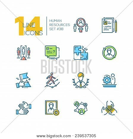 Human Resources - Set Of Line Design Style Icons Isolated On White Background. Minimalistic Colorful
