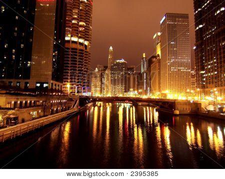 Chicago Night Mich Ave Bridge