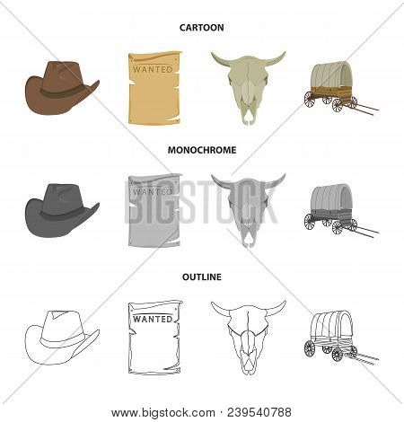 Cowboy Hat, Is Searched, Cart, Bull Skull. Wild West Set Collection Icons In Cartoon, Outline, Monoc