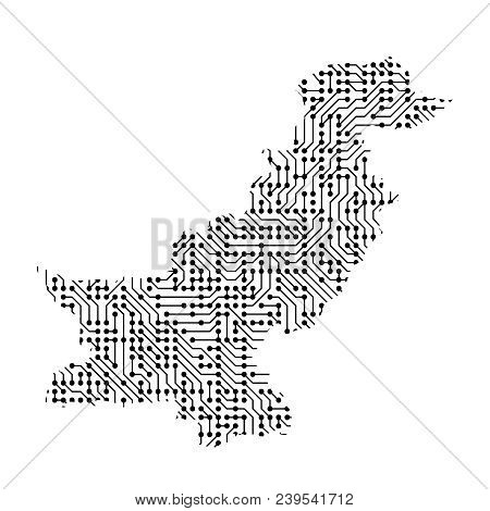 Abstract Schematic Map Of Pakistan From The Black Printed Board, Chip And Radio Component. Computer