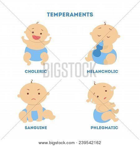 Babies Temperaments Set. Choleric And Melancholic, Sanguine And Phlegmatic.