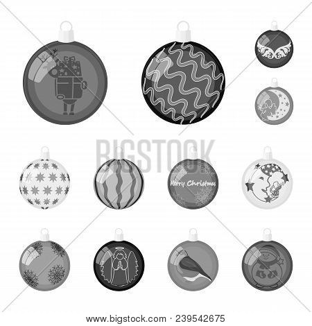 Christmas Toys Monochrome Icons In Set Collection For Design.new Year Balls Vector Symbol Stock Illu