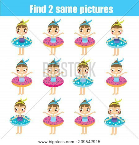 Find The Same Pictures. Children Educational Game. Find Equal Pairs Of Cute Girls. Summer Holidays T