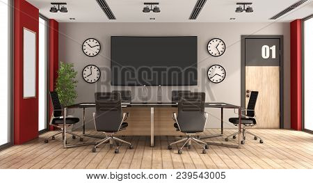 Modern Boardroom With Meeting Table,office Chair And Large Screen On Wall - 3d Rendering