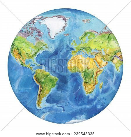 Watercolor Geographical Map Of The World. Physical Map Of The World. Europe, Asia, Africa, Australia