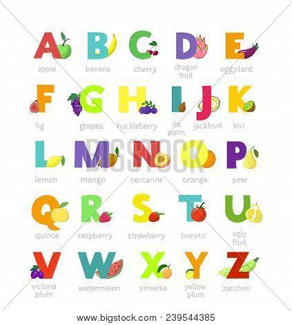 Fruit Alphabet Vector Alphabetical Vegetables Font And Fruity Apple Banana Letter Illustration Alpha