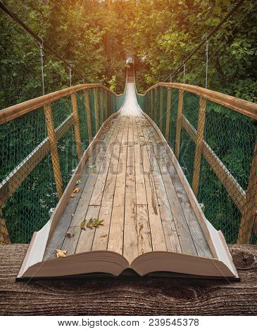 Way By The Suspension Bridge In A Misty Forest On The Pages Of An Open Magical Book. Majestic Landsc