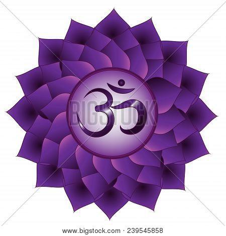 Sahasrara Chakra. Seventh, Crown Chakra Symbol. Isolated Vector Icon