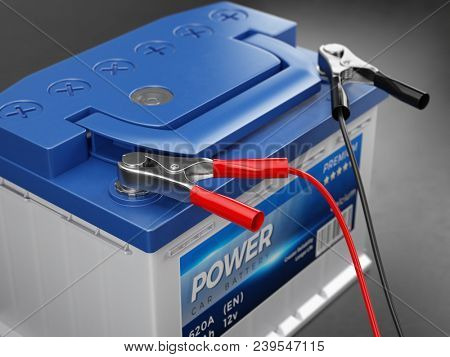 Charging the car battery. 3d rendering
