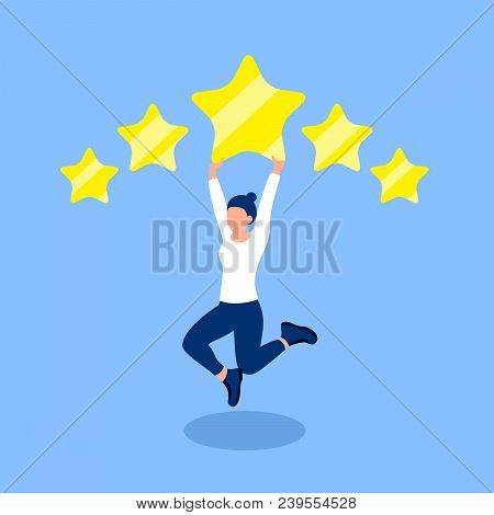 Rating Design Concept. Girl Is Happy With The 5 Star Rating. Trendy Flat Style. Vector Illustration.