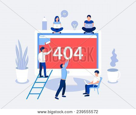 404 Error Page Design Concept. Laptop Screen With Error. Small People Repair The Site With A Problem