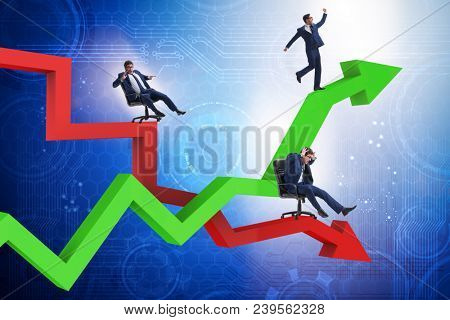 Growth and decline concept with businessmen poster