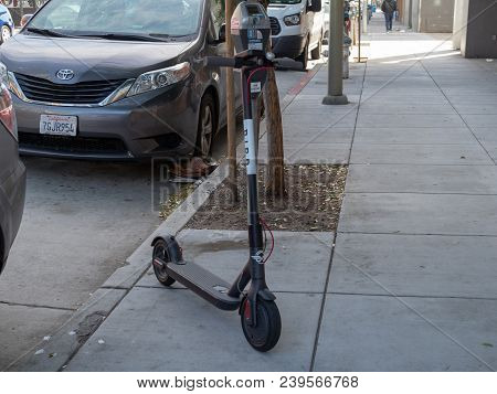 San Francisco, Ca - April 22, 2018: Bird, Transportation Start Up, Electric Scouter Parked On Sidewa