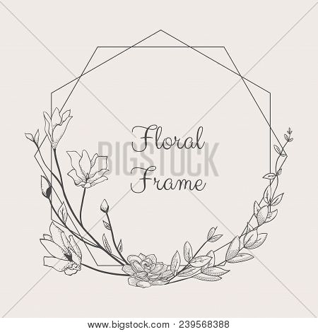 Black Hand Drawn Floristic Frame Border With Delicate Flowers, Branches, Plants With Geometric Shape