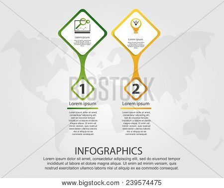 Timeline Modern Vector Illustration 3D. Infographic Template With Two Rhombus Elements And Number. D
